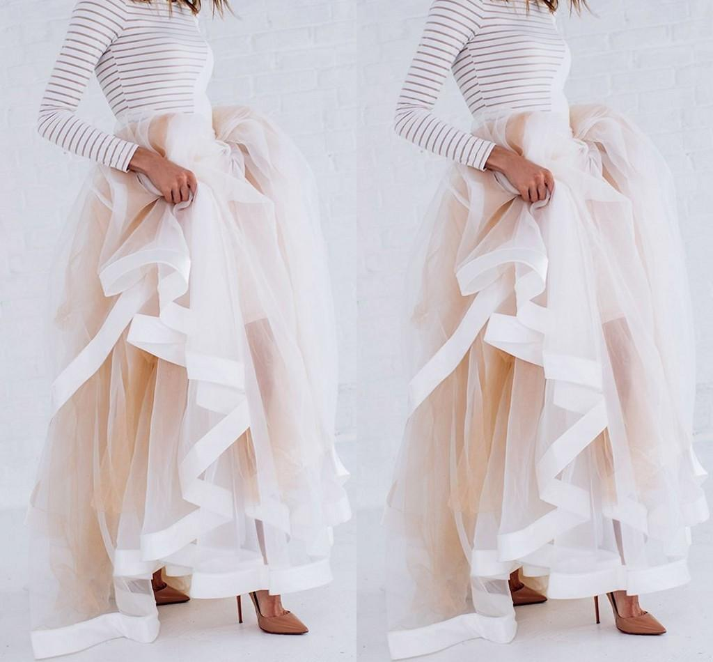 Nuevo diseño de tul maxi falda con borde de cinta de satén Champagne volantes elegantes faldas para mujer Sexy mujer largas faldas de invierno