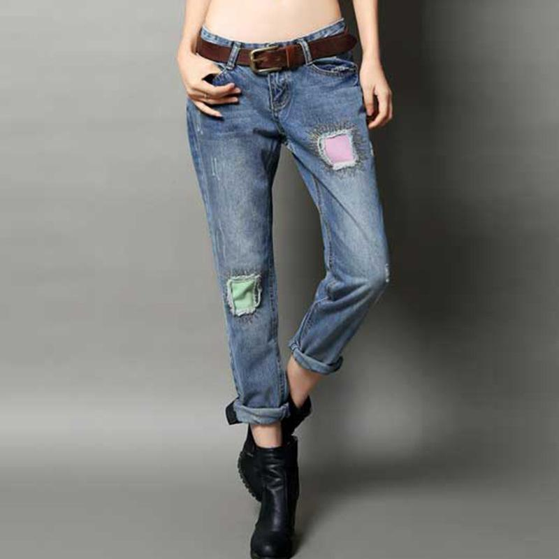 New Fashion Women's Skinny Jeans Lady's Hole Ripped Jeans Denim Distressed Pencil Pants Women's Punk Patch Begger Denim Pants