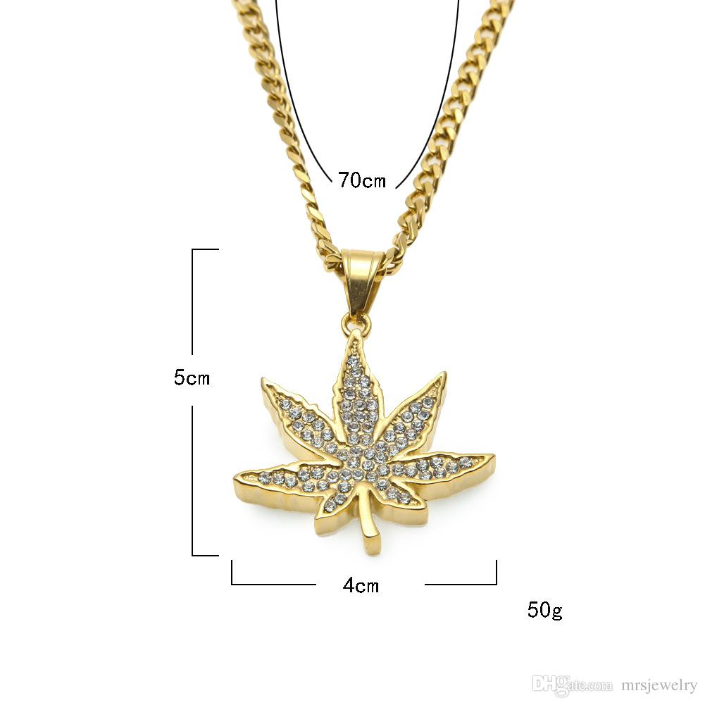 High Quality Gold Plated Big Maple Leaf Stainless Steel Pendant Necklace Jewelry Hot Sale Hip Hop Alloy Jewelry Necklaces NL015G