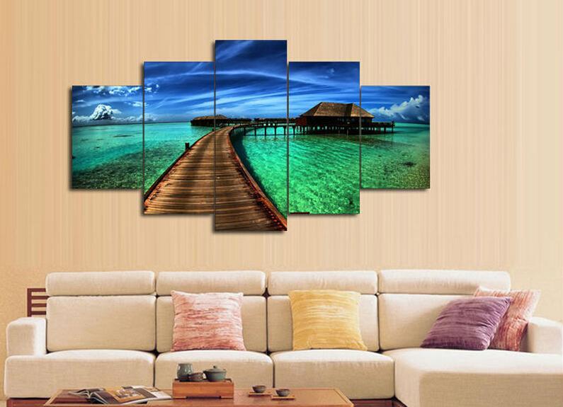 5 elemento de escenografía Pintura decorativo del hogar del paisaje marino puente Maldivas agua Impreso de petróleo que pintan el hogar lona de la decoración Arte de la pared