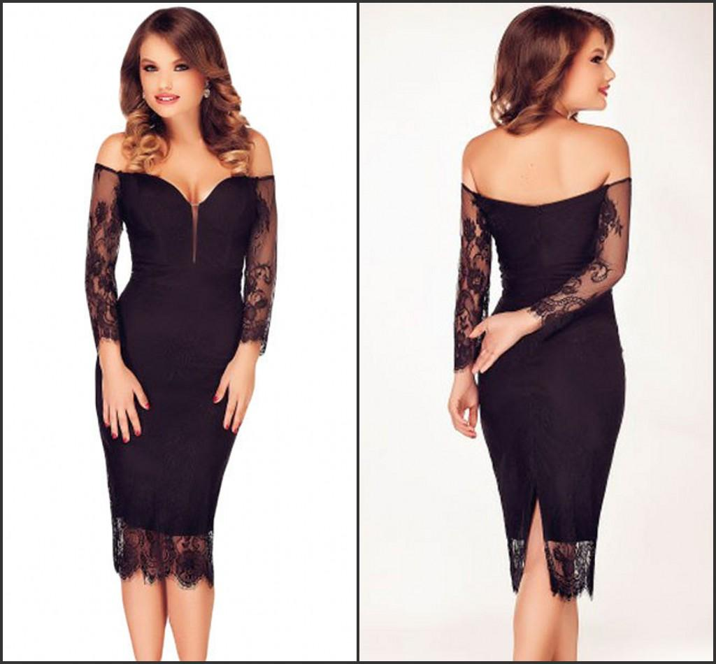 Großhandel Sexy Cocktail Kleid Hülle Long Sleeves Lace Piping Partei ...