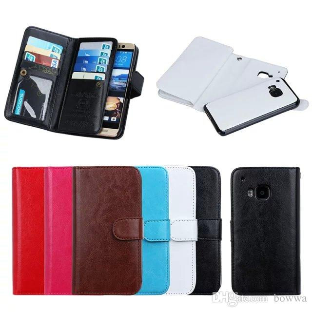 detachable multi function 9 card holder photo frame slots magnet pu leather wallet case for samsung galaxy s4 s5 s6 s6edge note4 lgg4 htcm9 cheap cell phone - Magnetic Card Holder