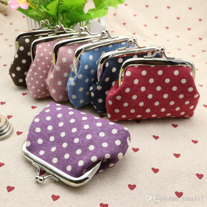 New Dots cotton and linen cloth art goods buckle zero wallets wedding cloth tower Christmas gifts change purse 1932