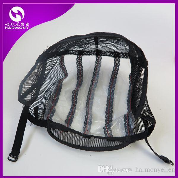 قبعات شعر مستعار الدنتلة غلويليس لصنع الرباط الباروكات تمتد مع الأشرطة قابل للتعديل مرة أخرى النسيج قبعة سوداء اللون البني شقراء