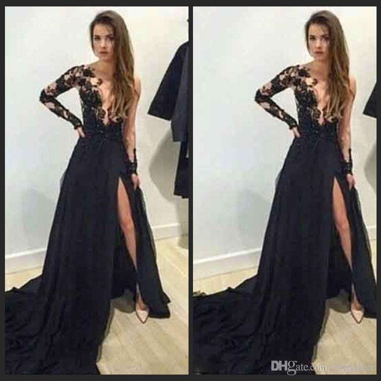 2016 Abendkleider New Trending Black Chiffon Long Sleeve Prom Dresses With High Split Evening Party Gowns Robe De Soiree