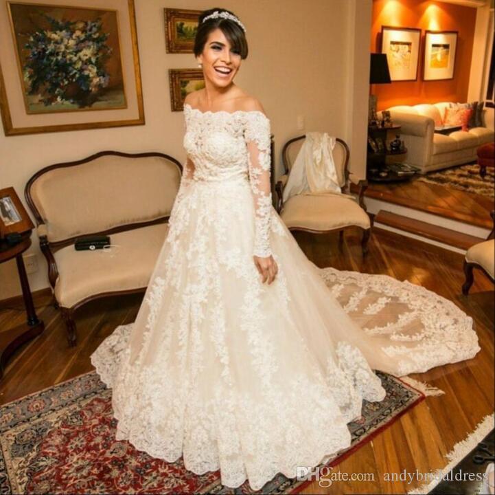Aus der Schulter Reich Taille Brautkleider Kleider Langarm Eine Linie Appliqued Court Train Vintage Brautkleider Kleider