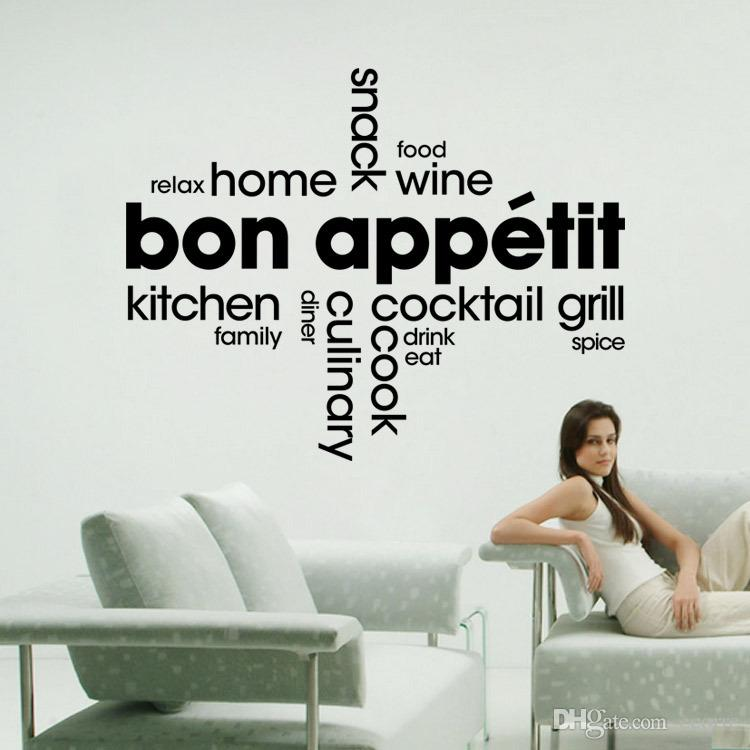 bon appetit franch quotes wall sticker kitchen dinner room wall
