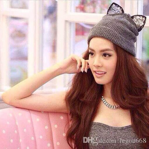 2015 Gorro Beanie Cap Women Winter Warm Knitted Hat Wool Rhinestone Devil Horn Cat Ears Hat Skullies Beanies Female Hats JIA553