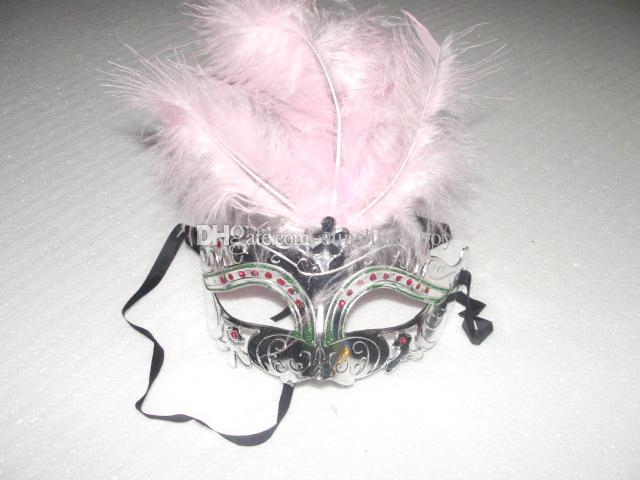 Ostrich Feather Crystal mask fringed mask venetian masquerade gift halloween decoration mix color