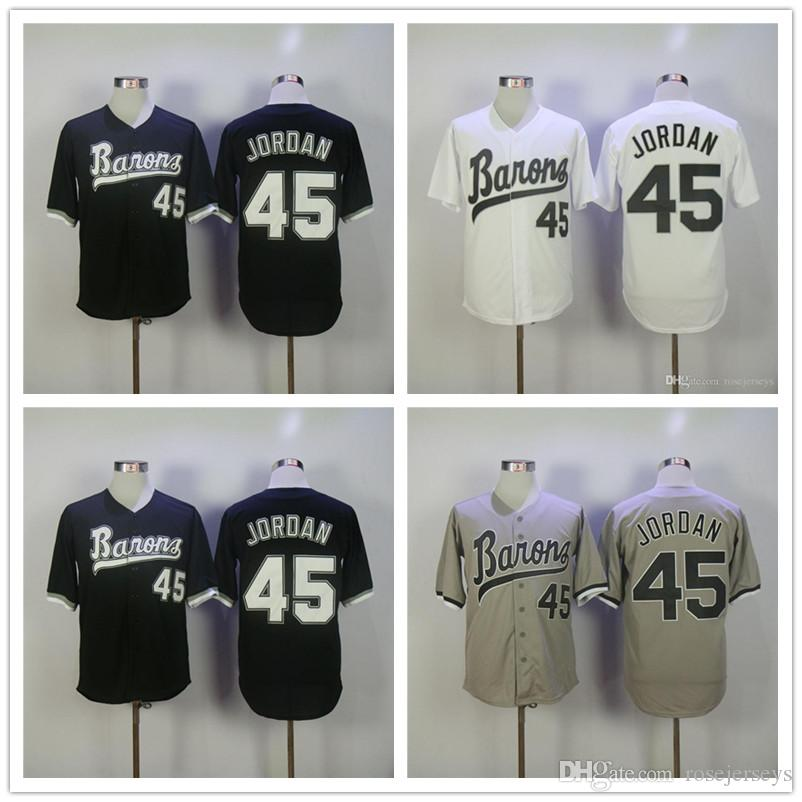 lowest price edc32 c8a99 Cheap Mens Birmingham Barons #45 Michael MJ White Retro pullover gray road  black vintage stitched Chicago baseball Jerseys S-3XL