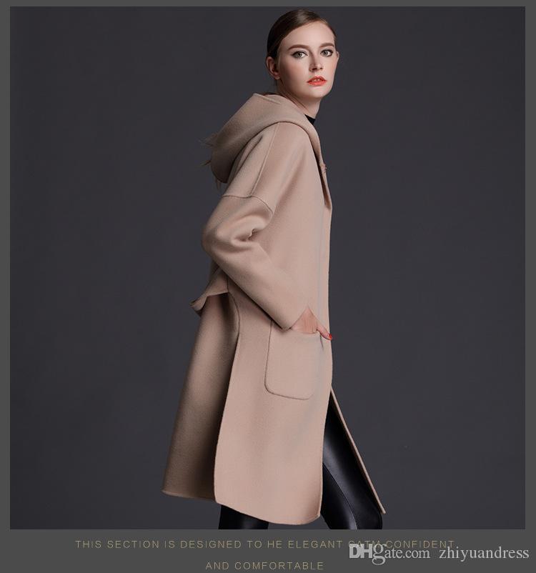 femme manteaux de laine d'hiver à capuchon bleu clair chameau 2018 manteaux mode cachemire maxmara de haute qualité dames Manteaux de laine