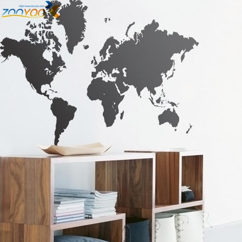 New Black Map Of The World Wall Sticker Office Background Wall Decal  Creative Removable Vinyl Decals Home Decor Art Deco Wall Stickers Art  Stickers For ...