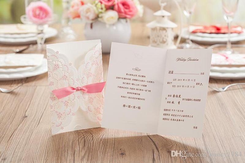 Newest Style Flower Wedding Invitation Card Marriage Pink Rectangle Invitations with Bowknot Party Decorations Custom Made