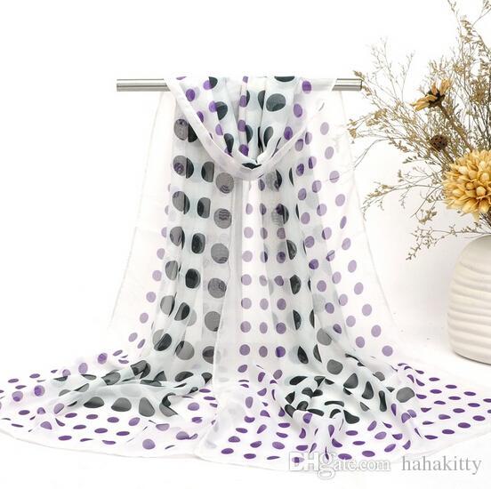 HWJ133 Hot selling New Fashion Big Dot Printing Silk Chiffon Women Elegent Beach Scarf .High level.160x50cm.Free Ship
