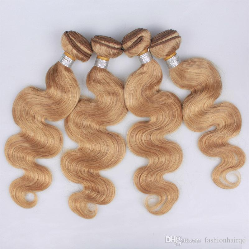 27 Honey Blonde Peruvian Virgin Hair Weft 3 Bundles Cheap Body Wave Human Hair Weaves Pure Color Double Weft Remy Extensions