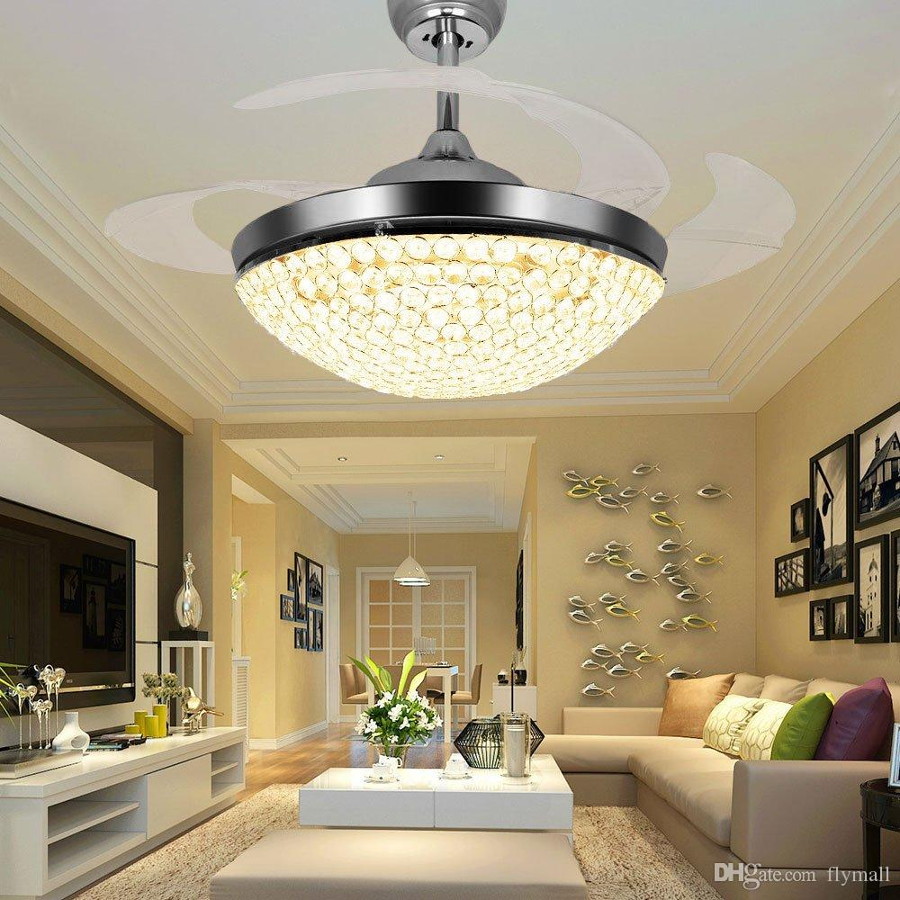 Crystal LED Ceiling Fans Light 42 Inch Mordern Fan Chandelier Ceiling Light with Remote Control for Indoor Living Dining Room Bedroom House