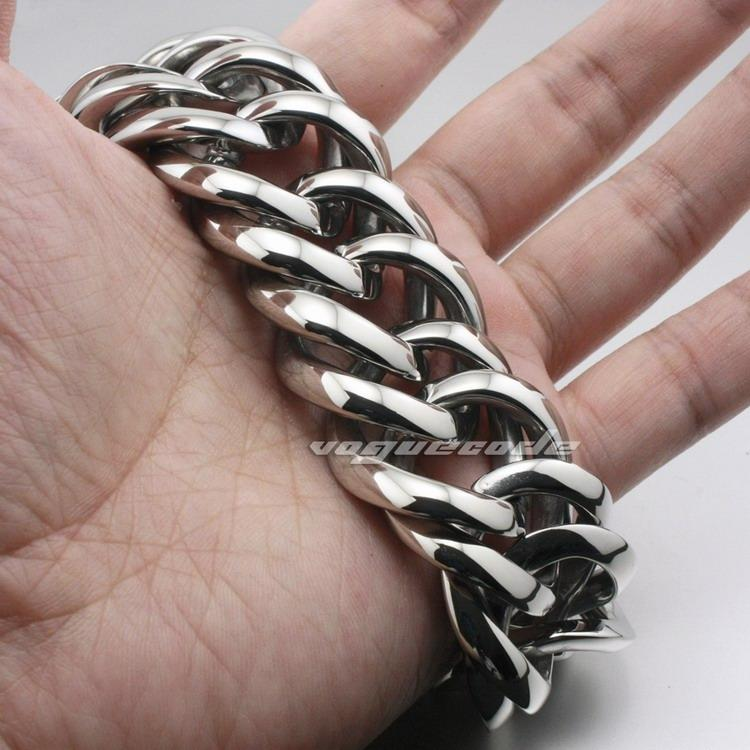 Various Length Huge & Heavy 316L Stainless Steel Mens Biker Bracelet 5E017