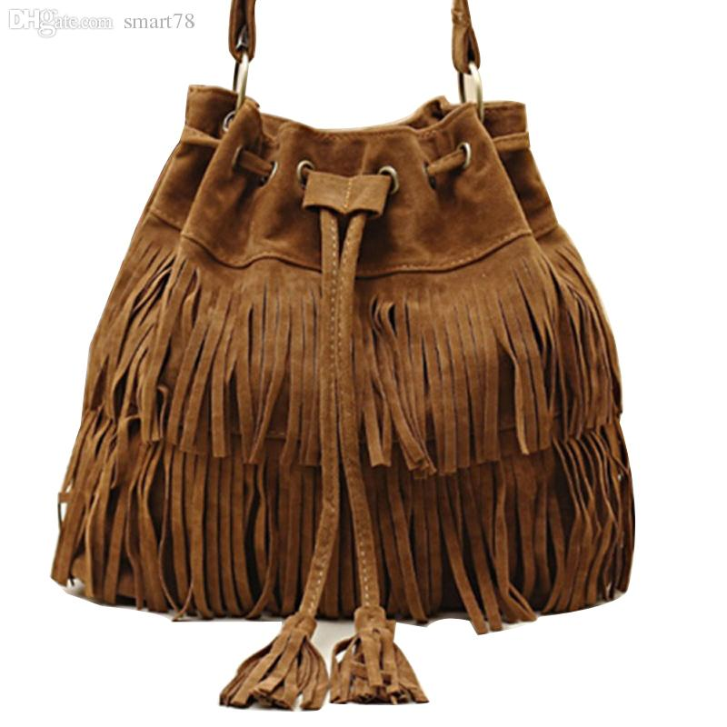 Wholesale-Suede Drawstring Bucket Bag Women Handbag Faux Fringe Tassel Shoulder Crossbody Messenger Bag Boho Style