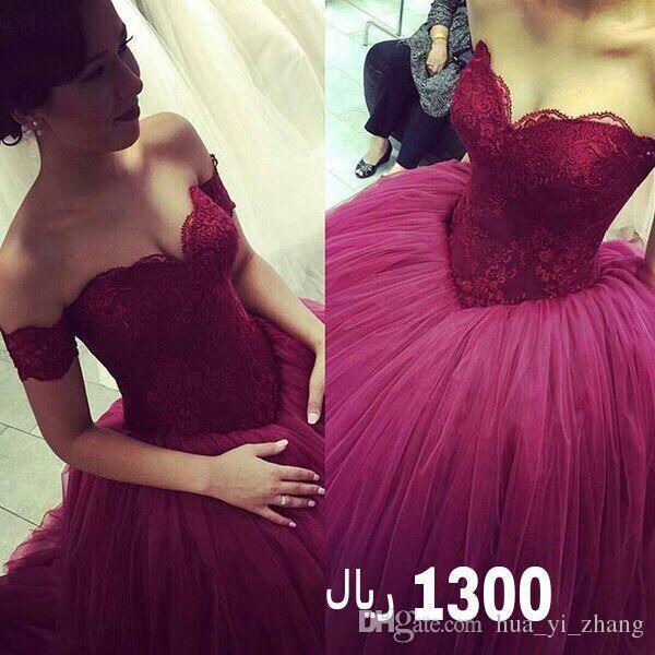 Vin Röd bollklänning Bröllopsklänningar 2016 Puffy Sweetheart Court Train Lace Tulle Plus Storlek Bröllopklänningar