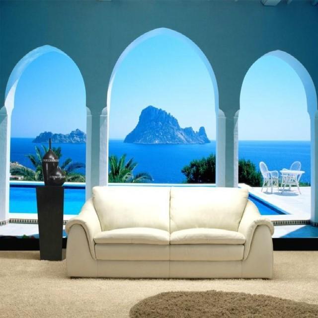 Art Customized Blue Large Mural 3d Wallpaper Wall Photo Sofa Romantic  Seaside Scenery Island Villa Wallpaper Bedroom Tv Backdrop Home Decor Buy  Wallpaper ...