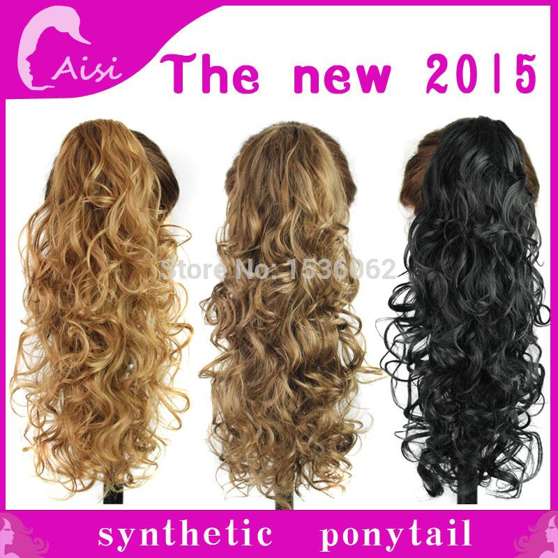 Free Shipping Long Spiral Curly Ponytail Clip In Hair Extensions 3colors To Choose 100 High Temperature Fiber Claw
