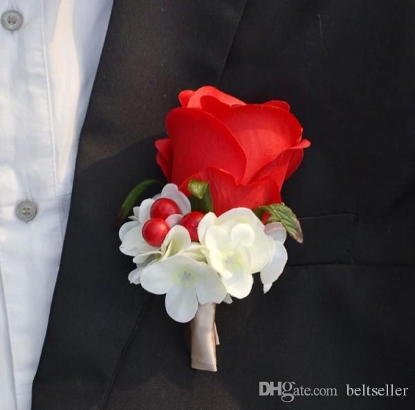Romantic Wedding Decoraitve Boutonnieres Elegant Artificial rose Corsages Handmade Groom's Boutonniere For Wedding party supplies