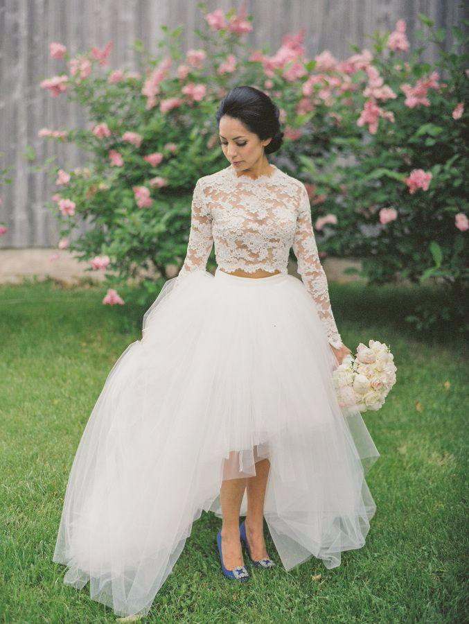 High Low Lace Wedding Dresses High Neck Jewel Long Sleeves Bridal Dresses Tulle Layers Illusion Two Pieces Dresses Wedding Guest Dress Cheap