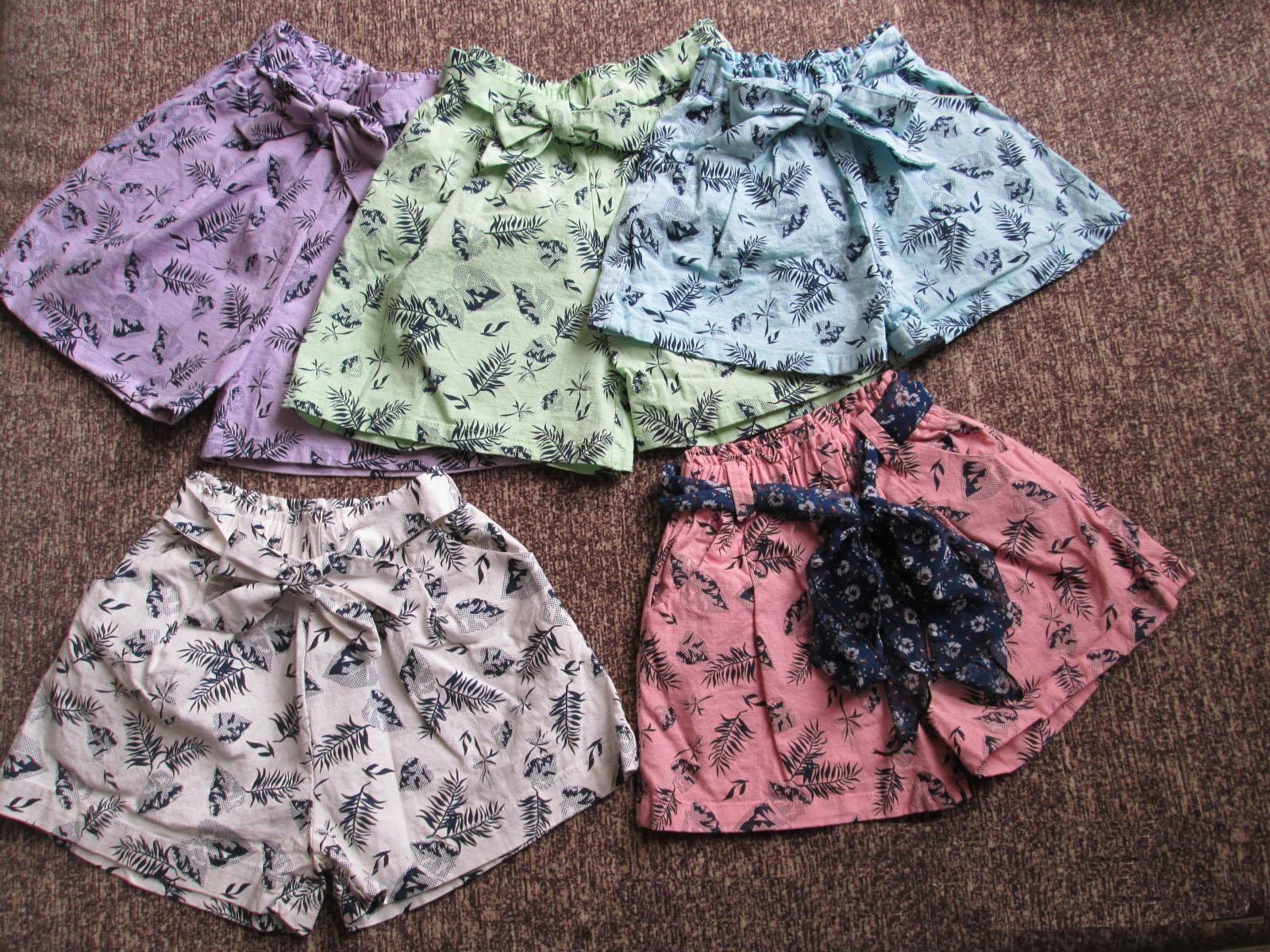 Girls Shorts Summer New Flower Printing Shorts Cotton Linen Children