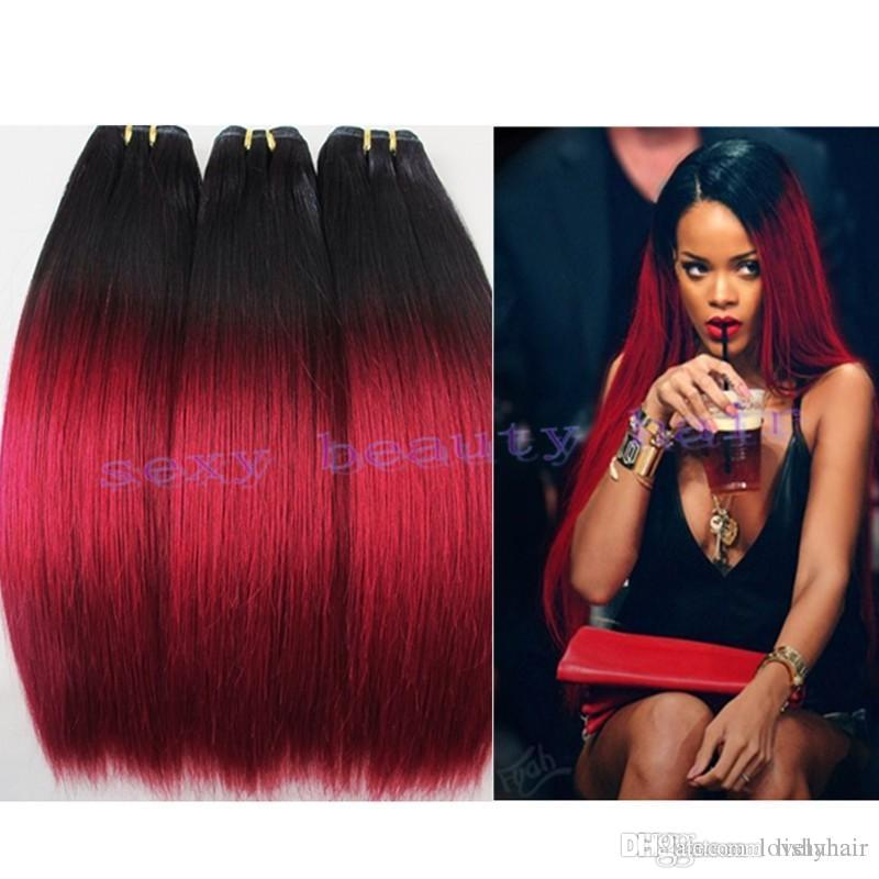 Rihanna red hair cheap brazilian virgin silky straight human rihanna red hair cheap brazilian virgin silky straight human hair weave wfts 1b red dark root ombre straight 2 two tone hair extensions pmusecretfo Image collections