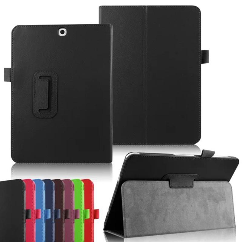 Two Folding PU Leather Cover for Samsung Galaxy Tab S2 8.0 T710 SM-T715 T715 Tab S2 9.7 T810 T815 SM-T815 Tablet Case Litchi Folio