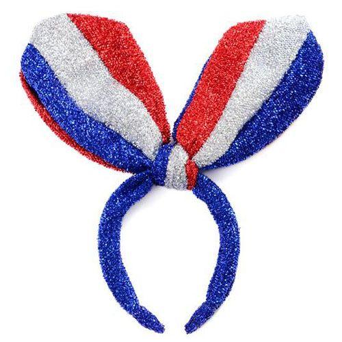Bleu Blanc Drapeau Rouge Longues Oreilles Brillant Tissu En Soie Cerceau Accessoires de cheveux ornements Bandes élastiques Pinces à cheveux pour les femmes Oreilles de chat arcs