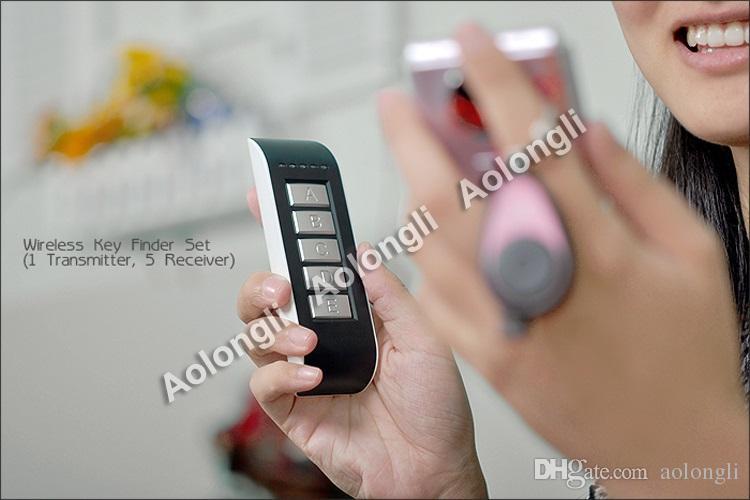 Wireless Key Finder set Anti perso allarme RF Wireless elettronico Finder Finder Portachiavi +1 Trasmettitore + 5 ricevitori