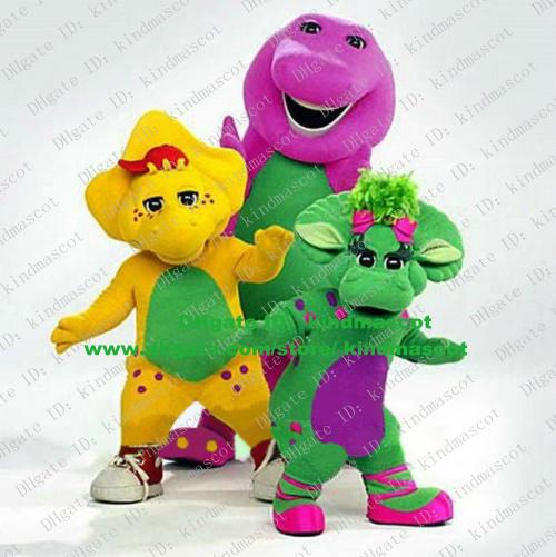 Cute Yellow Purple Green Dinosaur Dino Barney Baby Bop Bob And Bj