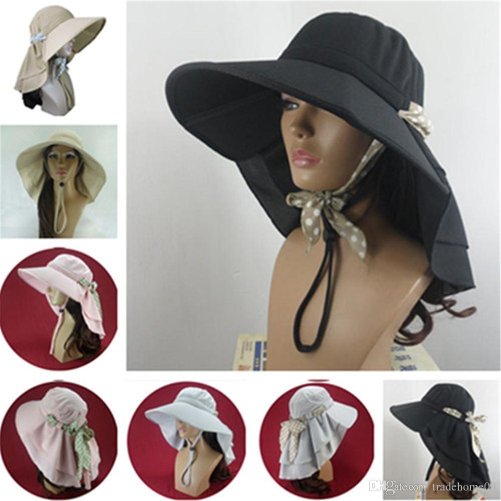 2028698b438 Hot New Unique Design Wide Brim Sun Hat Fashion Foldable Washable Women  Outdoor UV Neck Protection Summer Beach Sun Hat Hiking Fishing Caps Scala  Hats ...