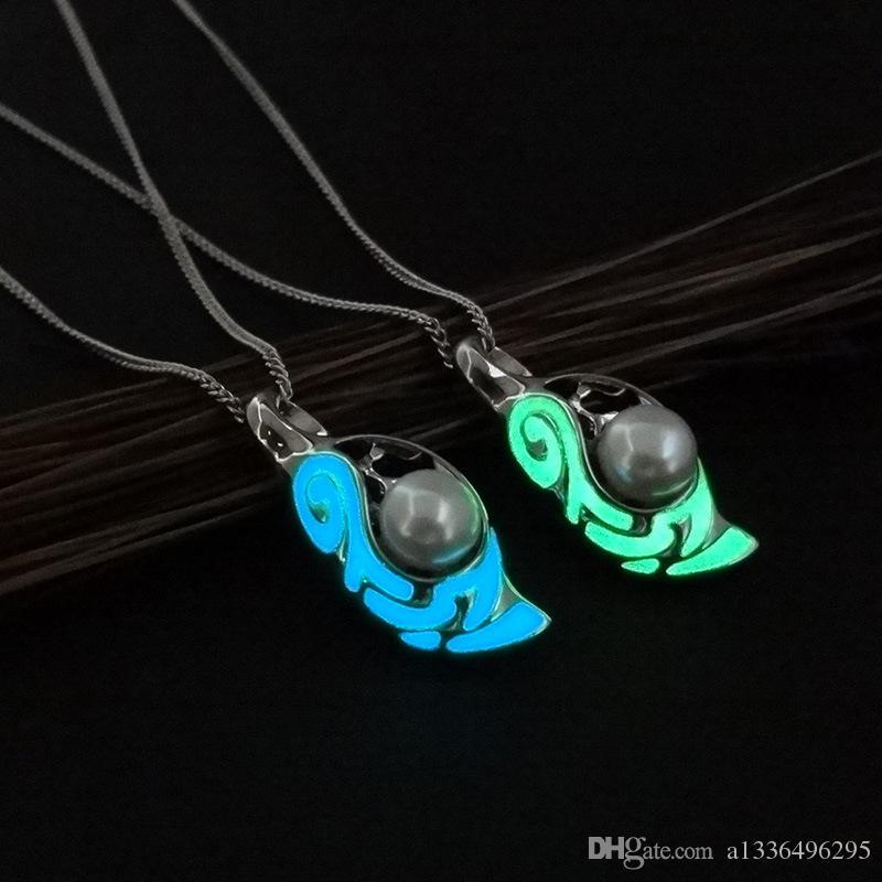 Europäische und amerikanische Legierung Hohe Qualität Mode Halskette Womens Collocation Party Geschenk Luxus Leuchtende Perlen Anhänger Schmuck nicht allergisch