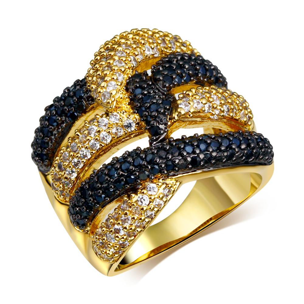 2018 Latest Design Cubic Zirconia Gold Rings Black And White Stone ...