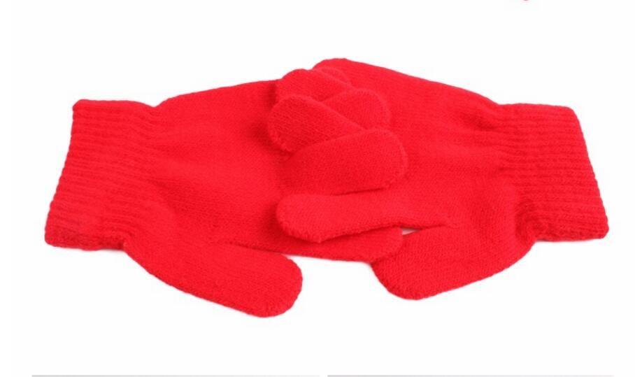 Kış Sevimli Erkek Kız Eldiven Düz Renk Parmak Noktası Streç Örgü Eldivenler çocuk eldivenleri örgü sıcak eldiven çocuk erkek Kız Eldivenler