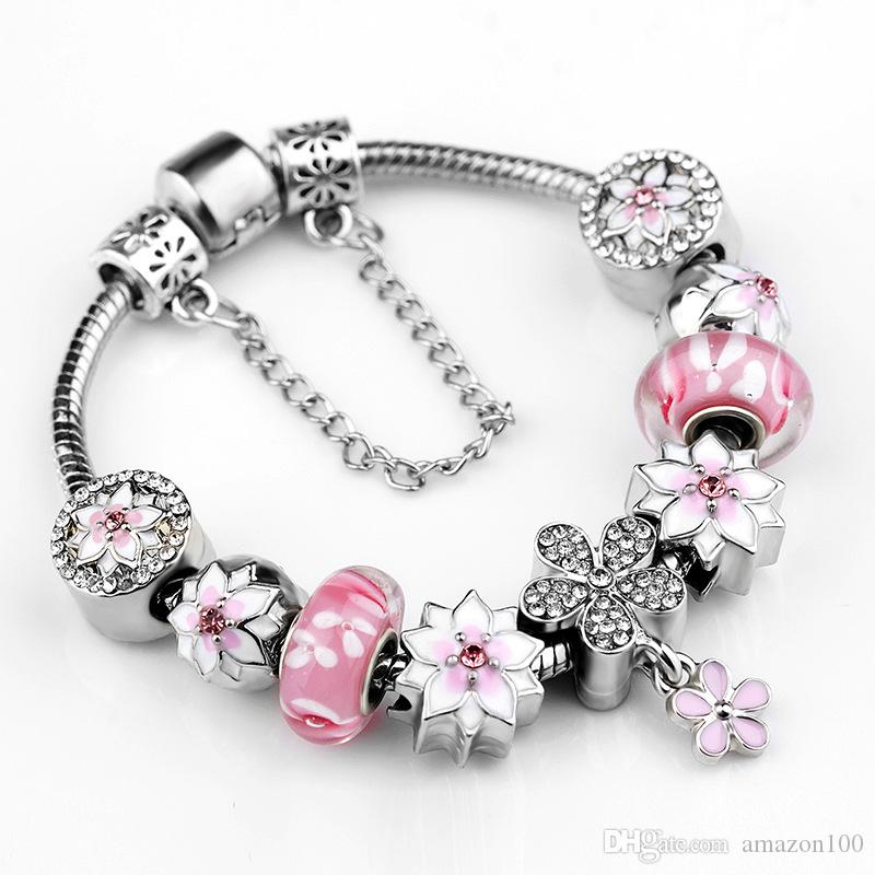 925 sterling silver pink murano glass beads silver fit. Black Bedroom Furniture Sets. Home Design Ideas