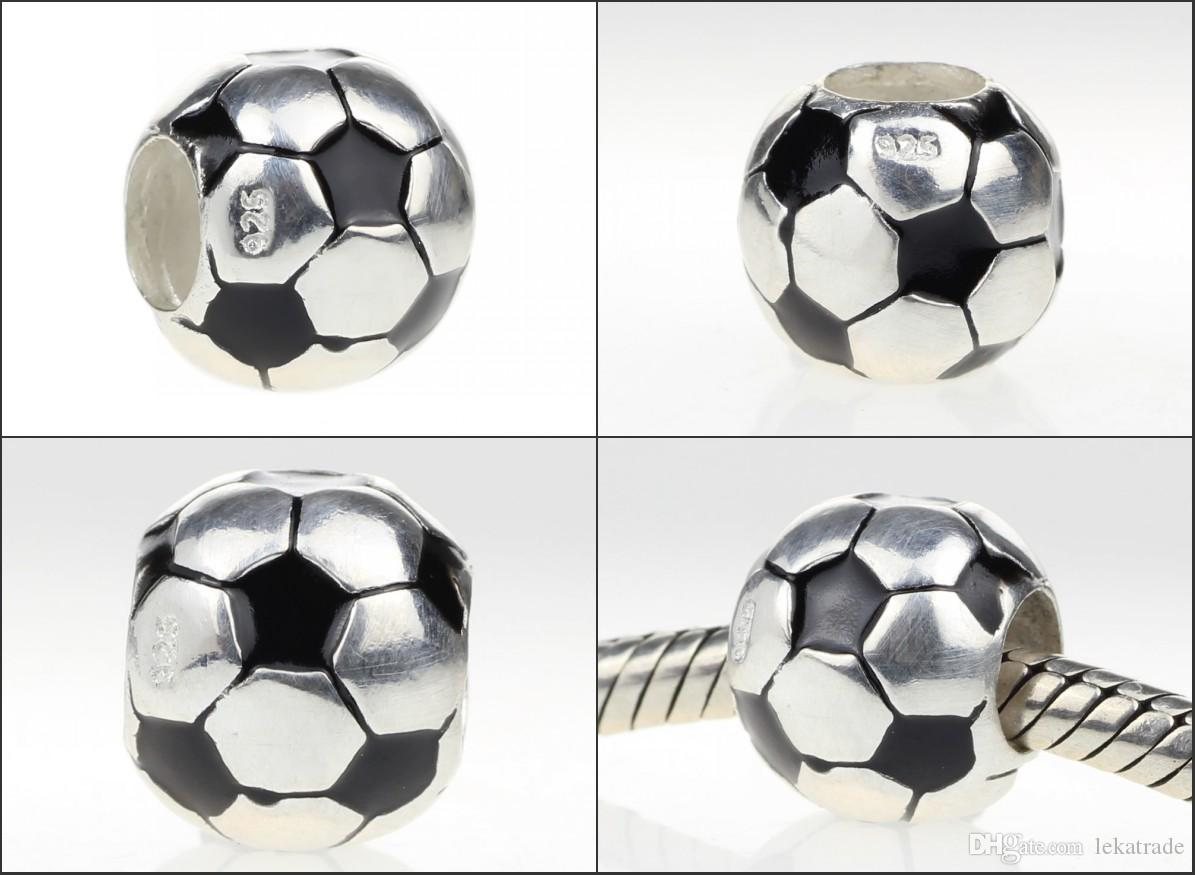Beads Hunter Jewelry Authentic 925 Sterling Silver Soccer Ball Charm big hole bead cup jewelry For 3mm European Bracelets snake chains