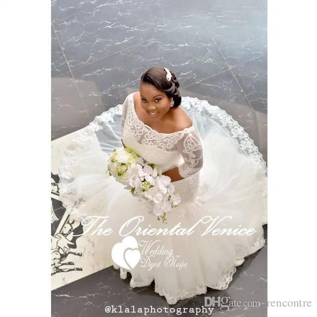 african style plus size wedding dresses with 3/4 long sleeves 2017