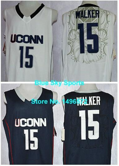 0253e58fa ... real 2018 factory outlet uconn huskies 15 kemba walker jersey white  blue stitched college baseketball jersey