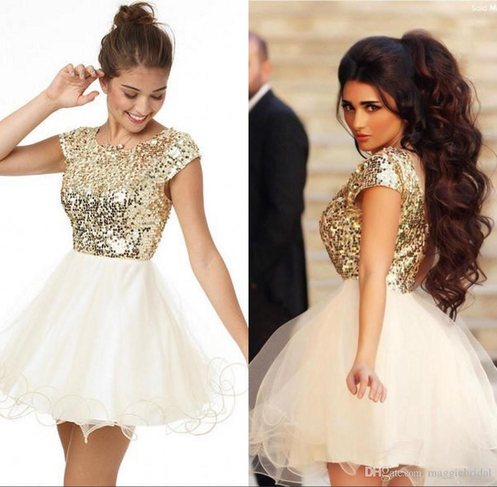 Black dress under white graduation gown - 2016 8th Grade Prom Homecoming Dresses Under 100 A Line White And Gold Sequins Short Party Dress For Girls Short Prom Dresses Custom Made Poofy Homecoming