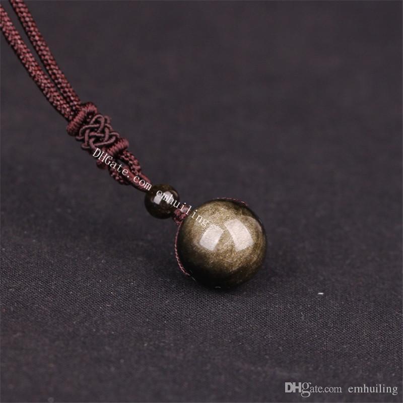 16mm Tiger Stone Smoky Quartz Gold Sheen Obsidian Crystal Om Mani Padme Hum Mala Onyx Stone Lucky Transport Bead Adjustable Healing Necklace