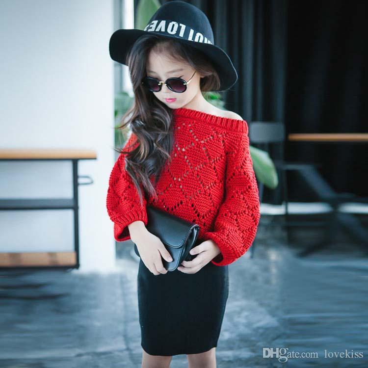 Kız Elbise Kazak Kazak Çocuk Giyim Çocuk Giyim 2018 Sonbahar Tığ Kazak Kız Üstleri Çocuk Kazak Örme Kazak C13404