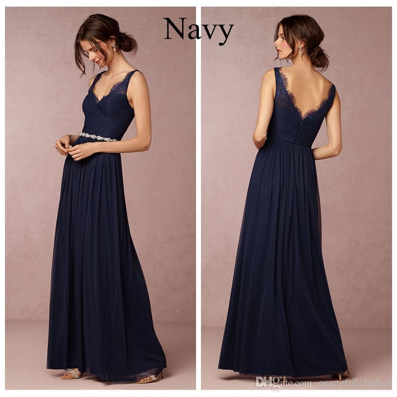 Navy Blue Chiffon Bridesmaid Dresses Long