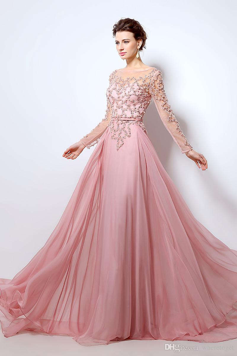 Elie Saab 2019 Long Bridal Evening Dress Illusion Jewel Neck Pearls Sash A-Line Floor Length Tulle Cheap Celebrity Party Gowns Prom Dress