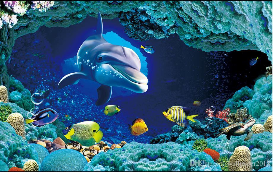 banheiro do revestimento do vinil do pvc banheiro marinho subaquático do revestimento do vinil do assoalho de telha do golfinho do mundo 3D