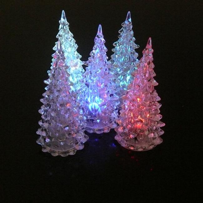 Christmas Ornament Christmas Tree Ice Crystal Colorful Changing LED Desk Decor/Table Lamp Light Happy New Year