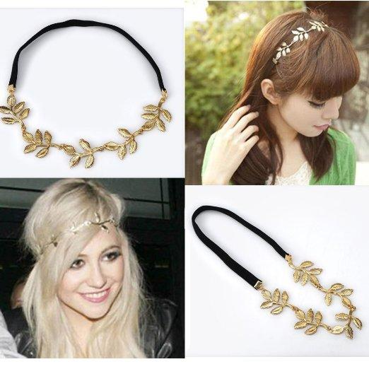 Moda HYL Yeni lady 1x altın Zeytin yaprağı bandı kafa parçası zincir altın elastik bant bırakır