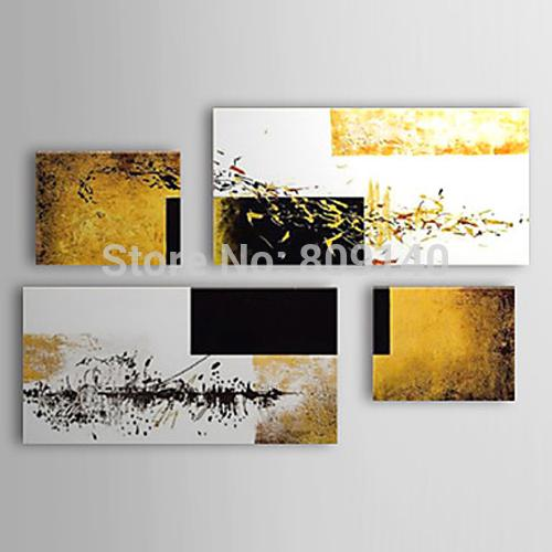 Stretched modern abstract oil painting canvas ready to hang white black dark yellow artwork handmade home office hotel wall art decor gift stretched modern